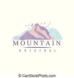 montagna, esterno, regione selvaggia, andando gita, avventure, illustrazione, emblema, vettore, retro, logotipo, sagoma, distintivo, originale, turismo