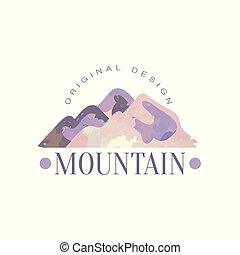 montagna, esterno, regione selvaggia, andando gita, avventure, illustrazione, emblema, vettore, disegno, retro, logotipo, sagoma, distintivo, originale, turismo