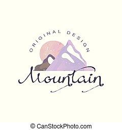 montagna, esterno, regione selvaggia, andando gita, avventure, illustrazione, emblema, vettore, disegno, turismo, distintivo, originale, logotipo, retro