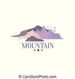 montagna, esterno, regione selvaggia, andando gita, avventure, illustrazione, emblema, vettore, retro, logotipo, sagoma, distintivo, turismo