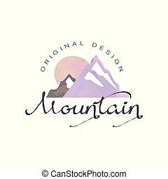 montagna, esterno, regione selvaggia, andando gita, avventure, illustrazione, emblema, vettore, turismo, distintivo, logotipo, retro