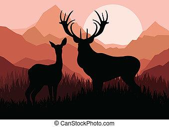montagna, famiglia, natura, coppia, cervo, illustrazione, silhouette, vettore, fondo, selvatico, paesaggio