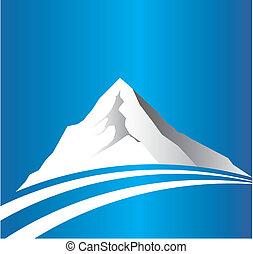montagna, immagine, strada, logotipo