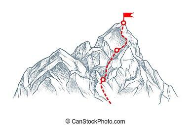 montagna, isolato, cima bianca, rout, schizzo