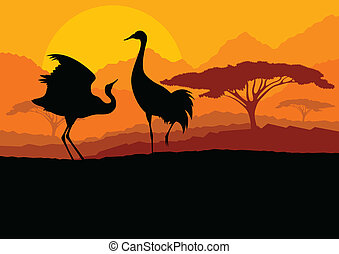 montagna, natura, coppia, illustrazione, vettore, fondo, selvatico, gru, paesaggio