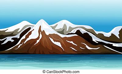 montagna, neve coprì