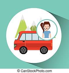 montagna, ragazza, furgone, turista, viaggiatore