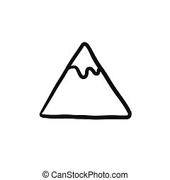 montagna, schizzo, icon.
