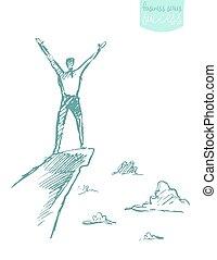 montagna, schizzo, successo, vettore, disegnato, arrampicatore, uomo