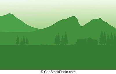 montagna, silhouette, fondo, casa
