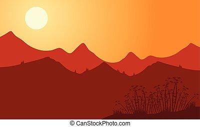 montagna, silhouette, sfondo rosso