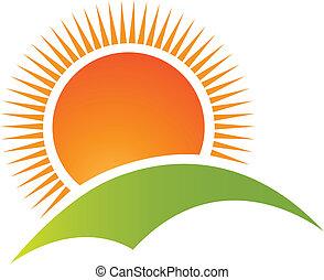 montagna, sole, logotipo, vettore, collina