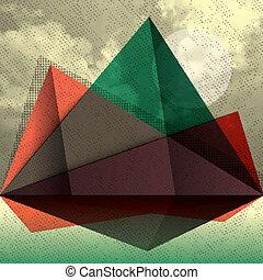 montagna, triangolo, forma astratta, vettore, fondo