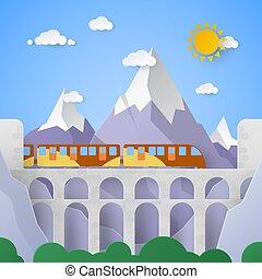 montagna, vettore, acquedotto, illustrazione, railway., carta, paesaggio