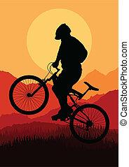 montagna, vettore, bicicletta, cavalieri, bicicletta