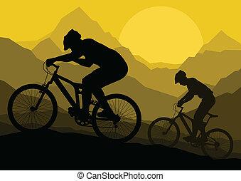 montagna, vettore, bicicletta, natura, illustrazione, bicicletta, fondo, selvatico, cavalieri, paesaggio
