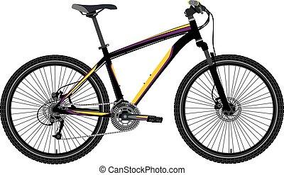 montagna, vettore, bicicletta