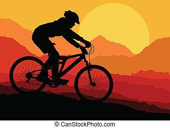 montagna, vettore, biking, fondo, manifesto