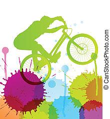 montagna, vettore, natura, illustrazione, bicicletta, fondo, selvatico, cavaliere, paesaggio