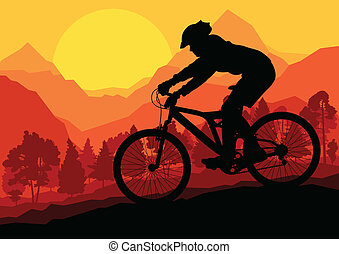 montagna, vettore, natura, illustrazione, bicicletta, foresta, fondo, selvatico, cavalieri, paesaggio