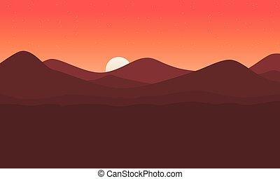 montagna, vettore, paesaggio, fondo