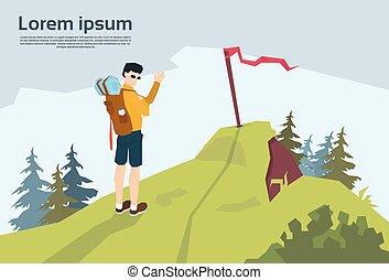 montagna, zaino, escursionista, collina, fondo, viaggiatore