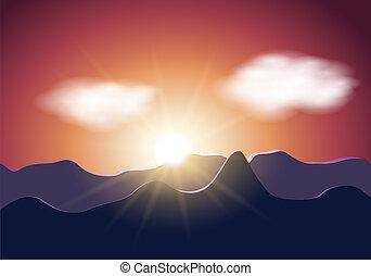 montagne, alba, illustrazione
