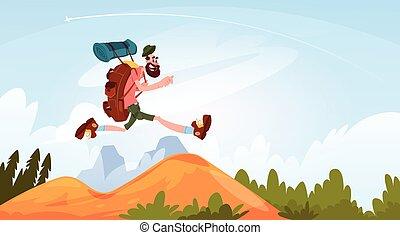 montagne, andando gita, natura, grande, zaino, viaggiatore, sorridere felice, sopra, paesaggio, uomo