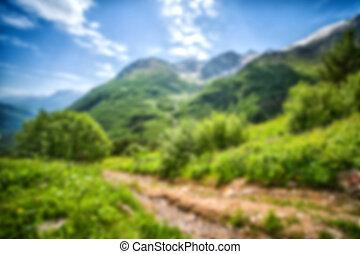 montagne, astratto, fondo, offuscamento