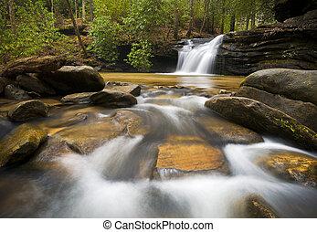montagne blu, cresta, rilassante, natura, fotografia, pacifico, acqua, cascata, fluente, sc, immagine, paesaggio