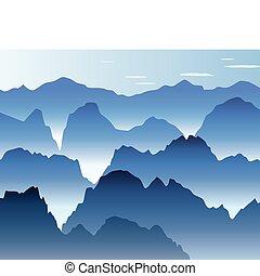 montagne blu, foschia, mattina