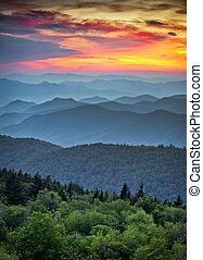 montagne blu, grande, cresta, livelli, scenico, parco nazionale, tramonto, creste, appalachian, fumoso, viale, sopra, paesaggio