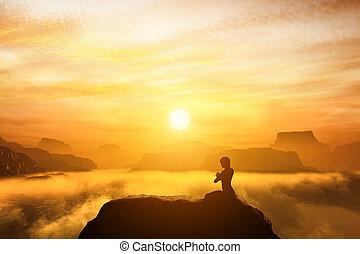 montagne, donna, yoga, seduta, cima, meditare, posizione