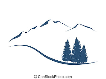 montagne, esposizione, illustrazione, stilizzato, abeti, paesaggio, alpino