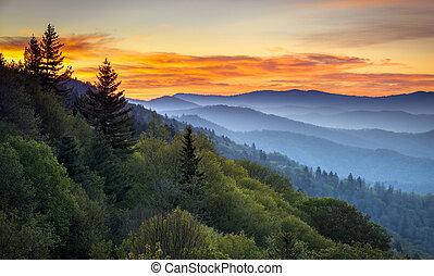montagne, grande, trascurare, cherokee, scenico, fumoso, nc, parco, gatlinburg, tn, alba, fra, oconaluftee, nazionale, paesaggio