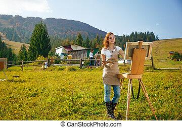 montagne, lavoro, giovane, pittore
