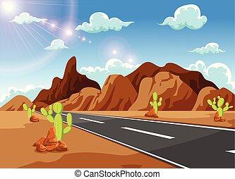 montagne, lontano, condurre, diritto, lungo, lontano, strada