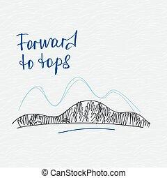 montagne, manifesto, vettore, avanti, tops., logo.