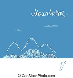 montagne., montagne, logo., vettore, avanti, manifesto