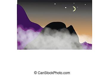 montagne, night., vista