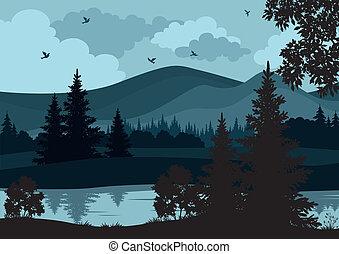montagne, paesaggio, albero, fiume