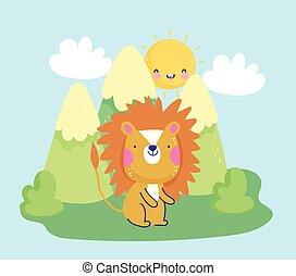 montagne, paesaggio, leone