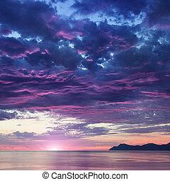 montagne, paesaggio, mare, alba