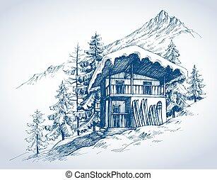 montagne, ricorso, capanna, sci