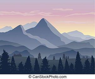montagne, silhouette, paesaggio, fondo, natura