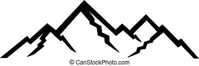 montagne, silhouette, picco