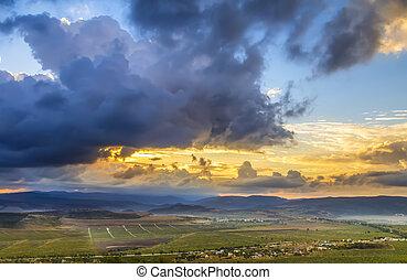 montagne, sopra, tramonto, strabiliante, orizzonte