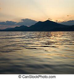 montagne, tramonto, paesaggio, mare