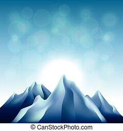 montagne, vettore, fondo, natura
