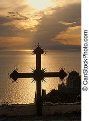 monte, athos, tramonto, croce, grecia
